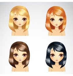 Straight Short Hair Set vector image