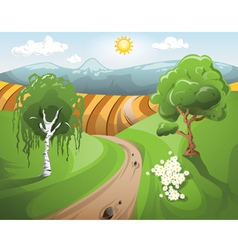 Sunset landscape with trees at the front vector image