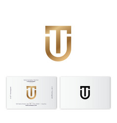 t and u shield monogram gold emblem flat linear le vector image