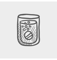 Tablet into a glass of water sketch icon vector image