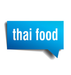 Thai food blue 3d speech bubble vector