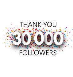 Thank you 30000 followers poster with colorful vector
