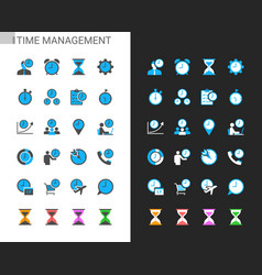 time management icons light and dark theme vector image