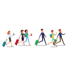 tourist man and woman running traveling people in vector image