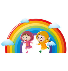 Two girls in raincoat running with rainbow in vector