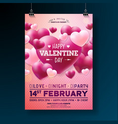 Valentines day party flyer design vector