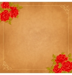 Vintage background with roses greeting vector image