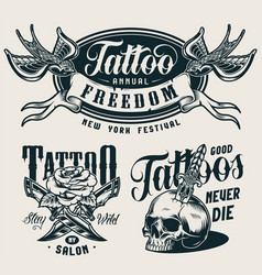 vintage tattoo salon monochrome prints vector image
