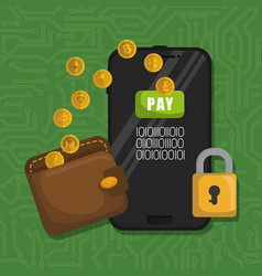 wallet with virtual coins and smartphone vector image