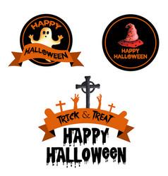 watercolor halloween logo designs vector image