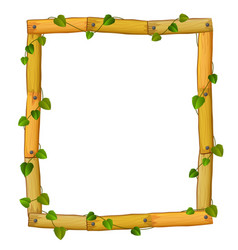 Wooden frame with roots and leaf vector