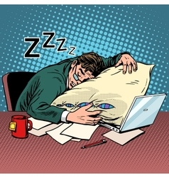 Worker dream workplace fatigue processing vector image