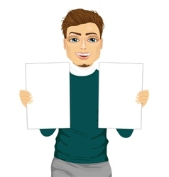 young man holding two blank papers vector image
