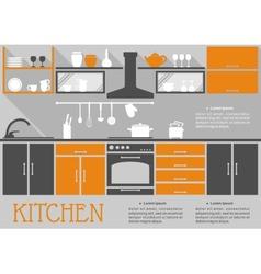 Flat kitchen interior design vector image vector image