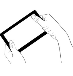 Hand holding digital tablet vector image vector image