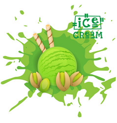 ice cream pistachio ball dessert choose your taste vector image vector image