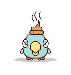 Isolated cartoon blue little bird get lucky on his vector image vector image