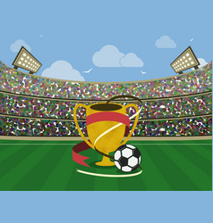 soccer stadium and gold trophy with red ribbons vector image