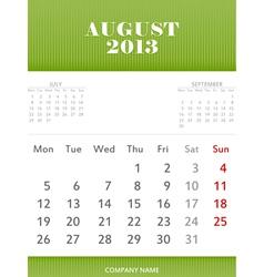 August 2013 calendar design vector image vector image