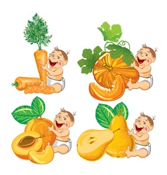 Baby with a pumpkin apricot carrot and pear vector