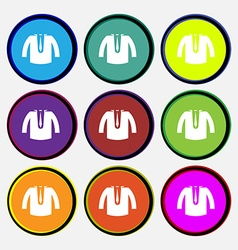 casual jacket icon sign Nine multi colored round vector image vector image