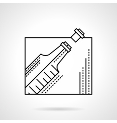 Champagne bottle black flat line icon vector image