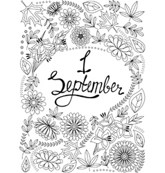 First September background black and white vector image