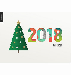 papercut - christmas tree and digits 2108 vector image