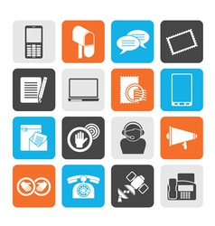 Silhouette Contact and communication icons vector image vector image