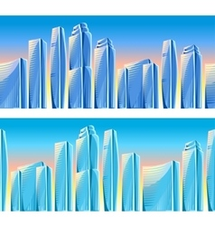 City skyscrapers seamless borders in blue colors vector image