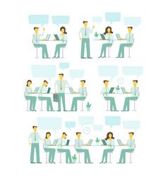office team set blue gamma business people big set vector image vector image