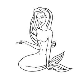 pointing sitting mermaid vector image