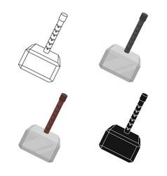 viking battle hammer icon in cartoon style vector image vector image