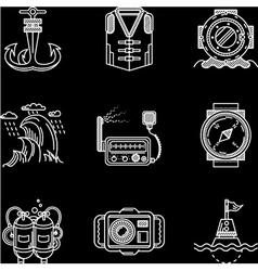 White line icons for marine equipment vector