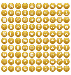 100 crime investigation icons set gold vector