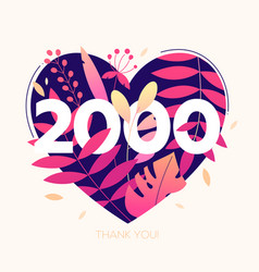 2000 followers banner - modern flat design style vector image