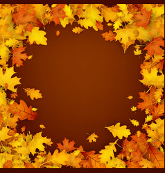 Autumn background with orange leaves vector