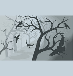 Black crows in a terrible foggy forest vector