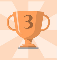 bronze trophy winner cup with 3 symbol on the vector image