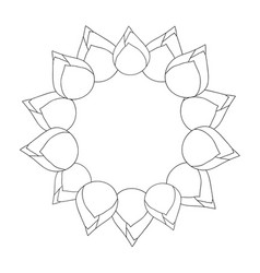 Bud indian lotus outline wreath vector