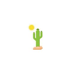 Cactus tree and sun logo design vector
