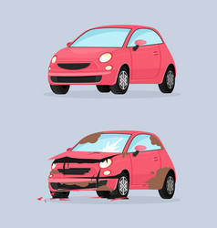 Car crash flat traffic vector