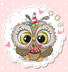 cartoon owl with horn a unicorn and a vector image