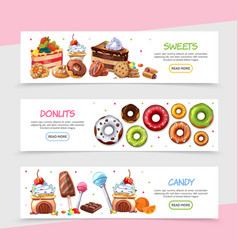 cartoon sweet products horizontal banners vector image