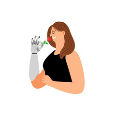 cartoon woman with bionic arm vector image