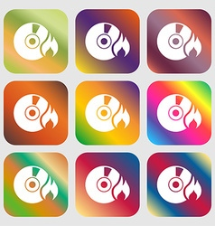 CD icon Nine buttons with bright gradients for vector