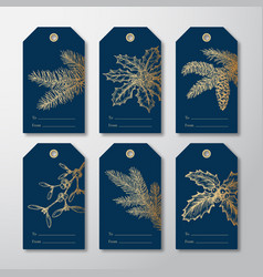 christmas and new year ready-to-use gift tags or vector image