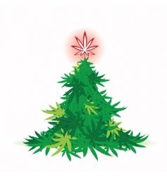 Christmas tree cannabis leaf vector