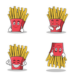 collection set french fries cartoon character vector image
