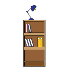 colorful education bookcase with books and desk vector image